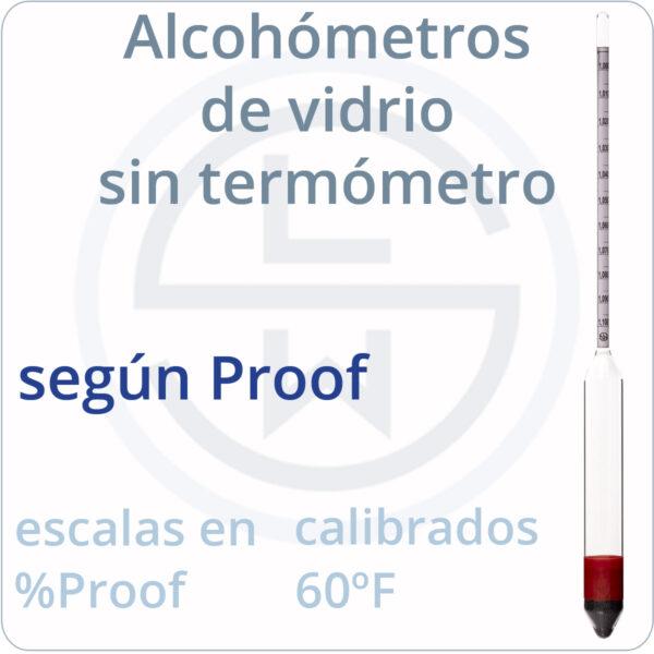 alcohómetros de vidrio según normas Proof