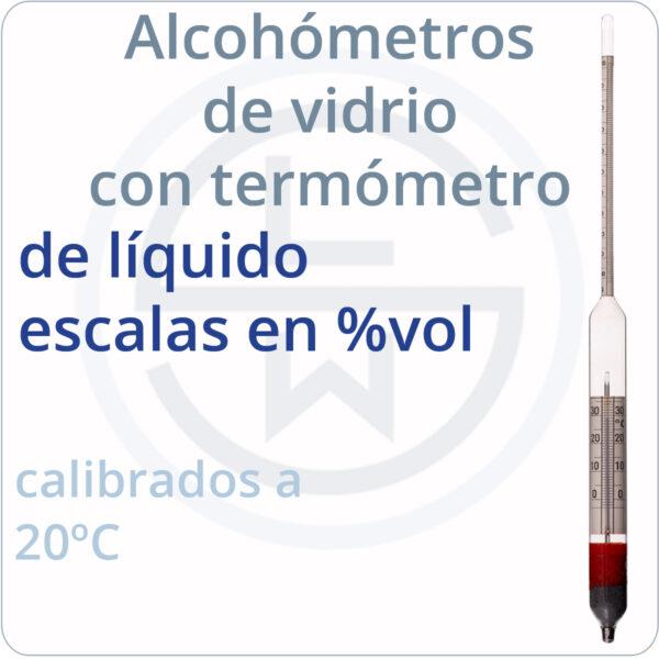 alcohómetros de vidrio con termómetro de líquido