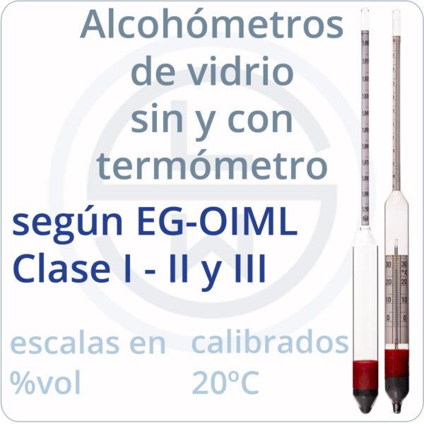alcohómetros de vidrio según normas EG-OIML