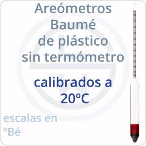 areómetros baumé de plástico sin termómetro calibrados a 20ºC