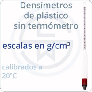 densímetros de plástico sin termómetros - g/cm3