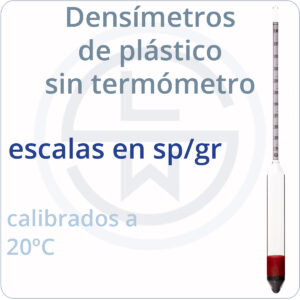 densímetro de plástico sin termómetro - sp/gr