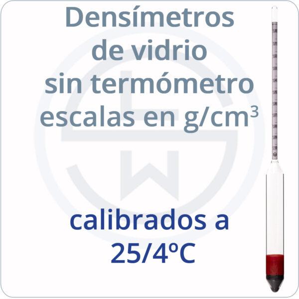 densímetros g/cm3 calibrados a 25/4ºC