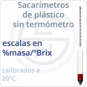 sacarímetros de plástico sin termómetro escalas %masa
