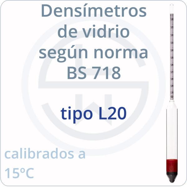 densímetros según norma BS 718 tipo L20
