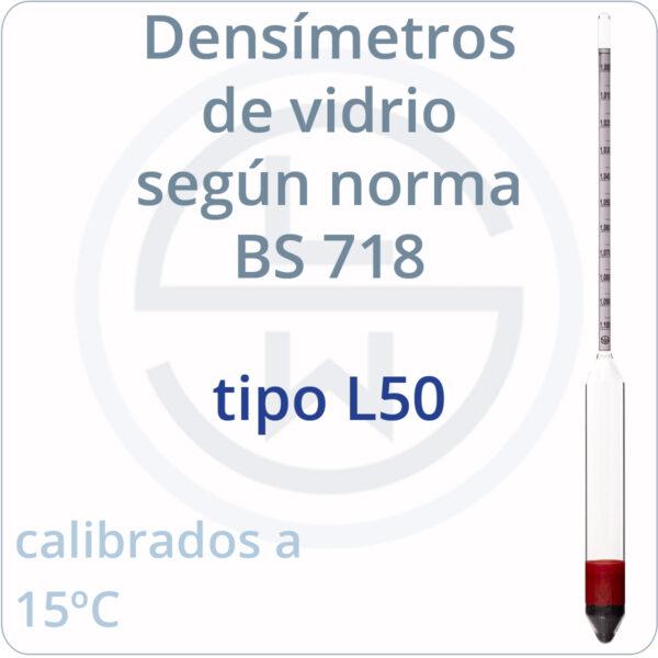 densímetros según norma BS 718 tipo L50