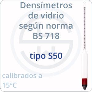 densímetros según norma BS 718 tipo S50
