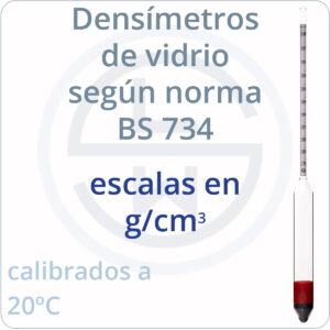 densímetros según norma BS 734 escalas g/cm3