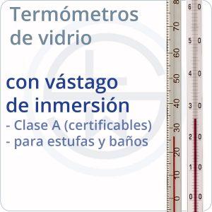 termómetros de vidrio con vástago de inmersión