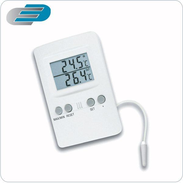 termómetro digital de dos canales con sonda y alarma acústica