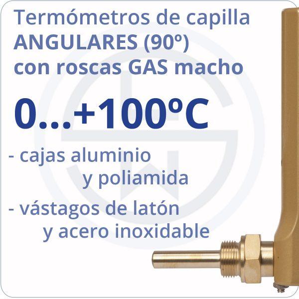 termómetros de capilla angulares conexión gas - rango 0+100 - Berman