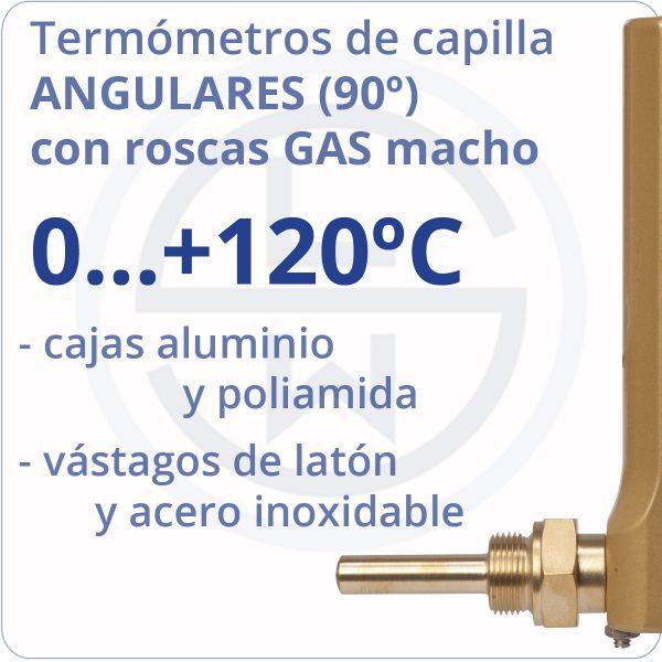 termómetros de capilla angulares conexión gas - rango 0+120 - Berman