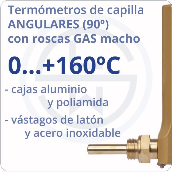 termómetros de capilla angulares conexión gas - rango 0+160 - Berman