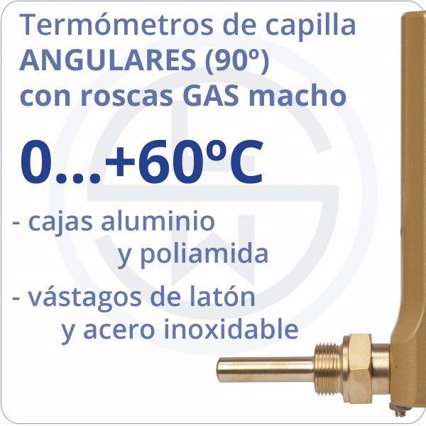 termómetros de capilla angulares conexión gas - rango 0+60 - Berman