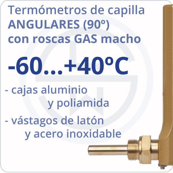 termómetros de capilla angulares con roscas gas - rango -60+40 - Berman