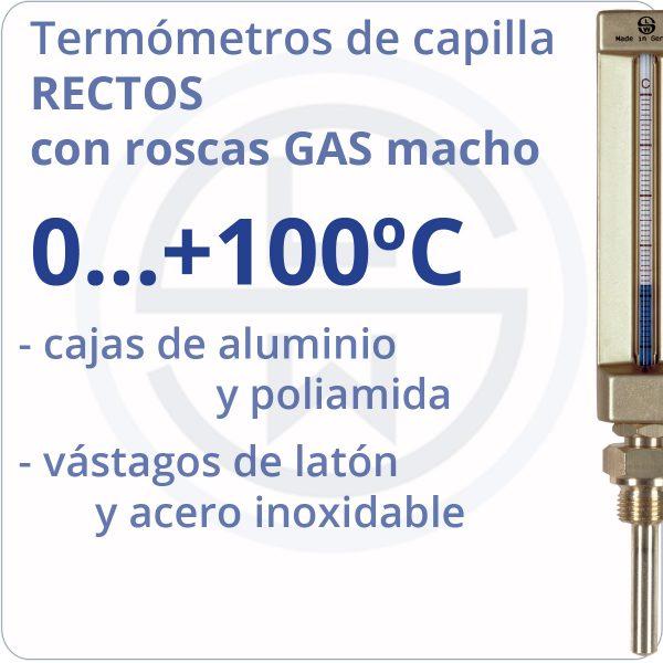 termómetros de capilla rectos conexión gas - rango 0+100 - Berman