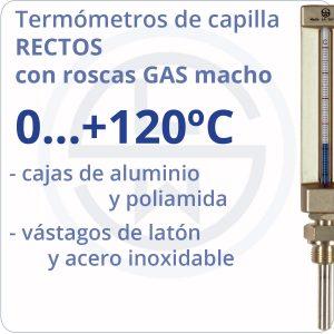 termómetros de capilla rectos conexión gas - rango 0+120 - Berman