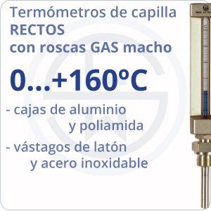 termómetros de capilla rectos conexión gas - rango 0+160 - Berman