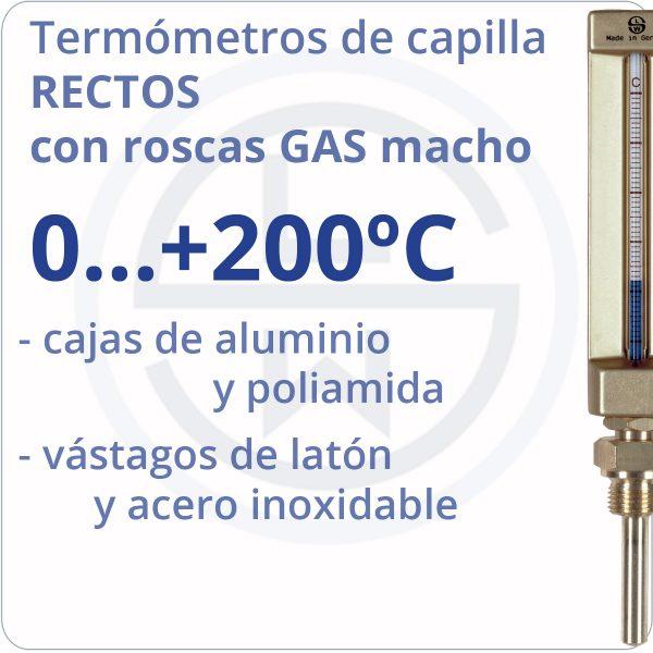 termómetros de capilla rectos conexión gas - rango 0+200 - Berman