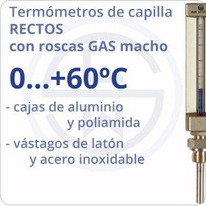 termómetros de capilla rectos conexión gas - rango 0+60 - Berman