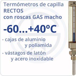 termómetros de capilla rectos con roscas gas - rango -60+40 - Berman